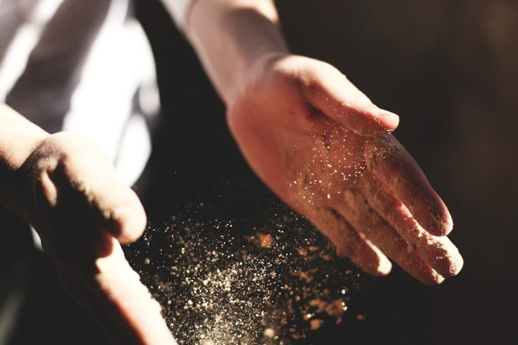 hands, clapping, dust