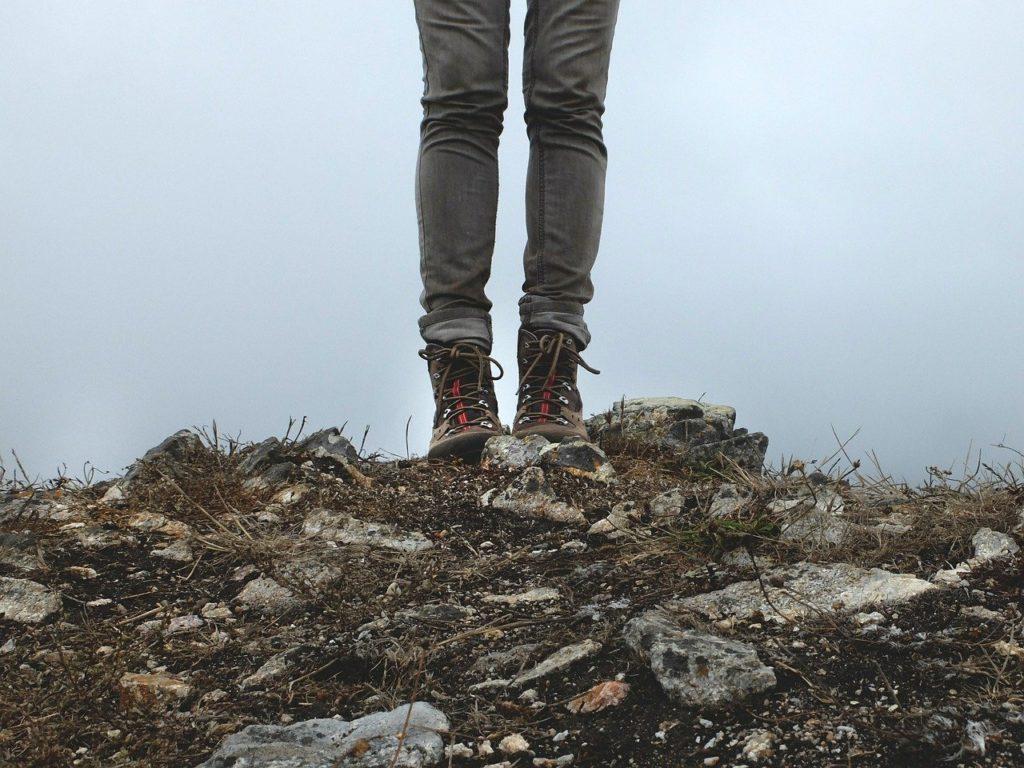 hiking boots, hike, legs